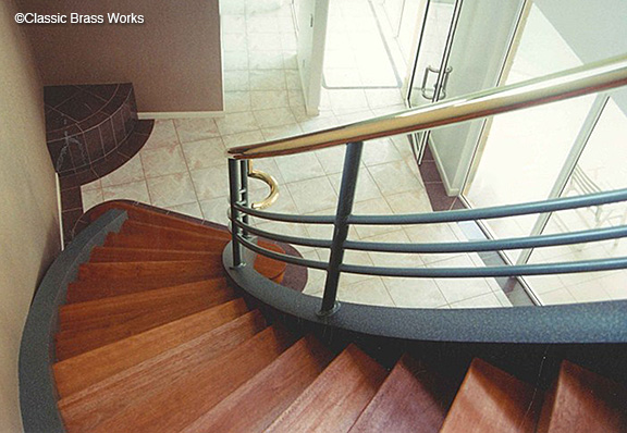 Brass Staircase Railing, Car Wrap